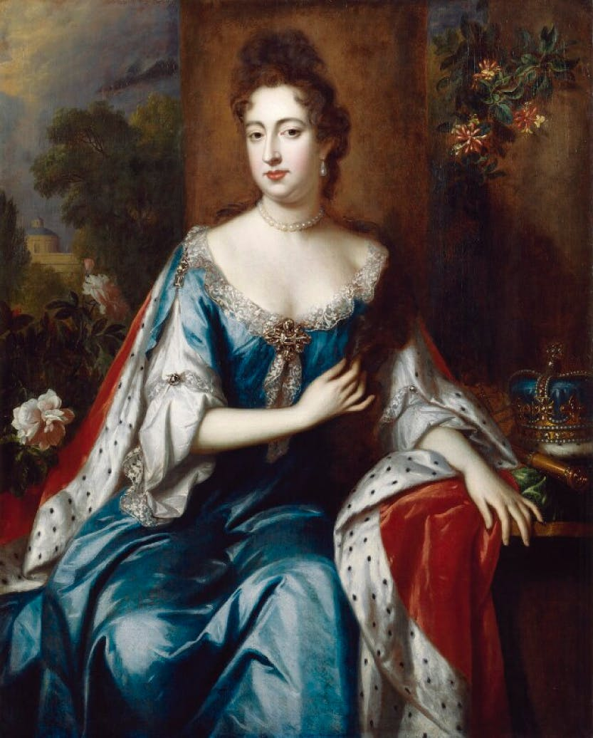 A portrait of Queen Mary II, dressed in blue and white with ermine trim, seated with a crown by her side. This portrait is attributed to Jan van der Vaart, circa 1692-1694.
