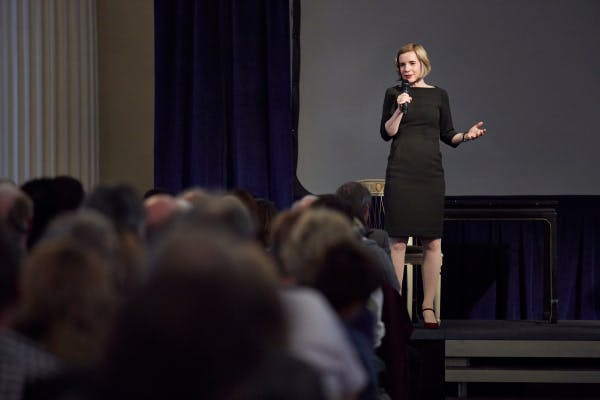 Lucy Worsley on stage