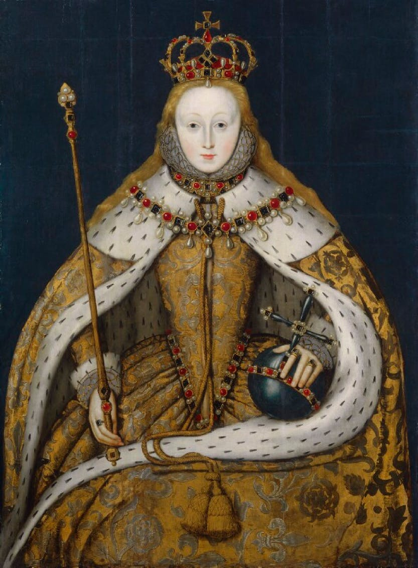 Portrait of Elizabeth I in her coronation regalia.