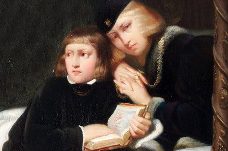 Detail of painting depicting two princes