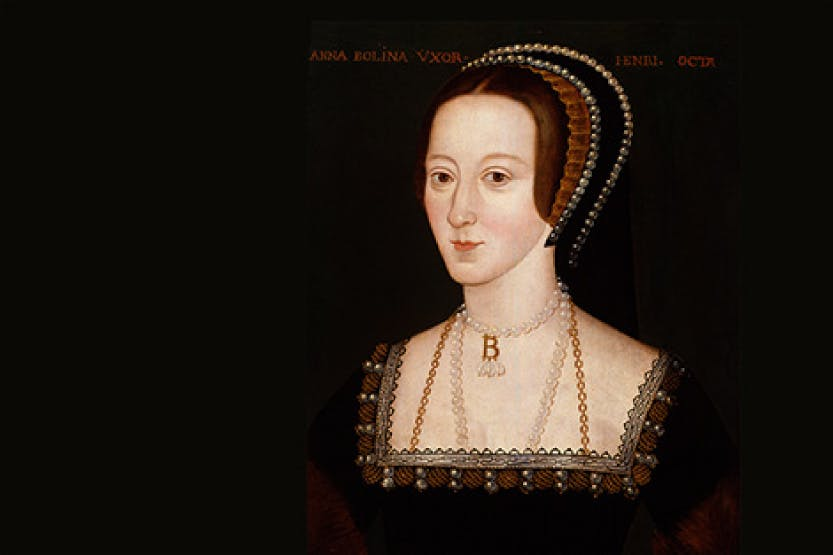 Anne Boleyn by Unknown English Artist (detail), late 16th century. Primary collection of National Portrait Gallery, NPG 668.