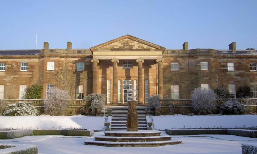 View of the outside of Hillsborough Castle covered in snow