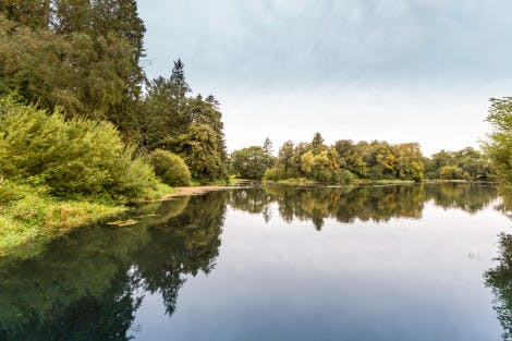 The Lake at Hillsborough Castle and Gardens, showing a large stretch of water surrounded by green and orange trees under a cloudy sky