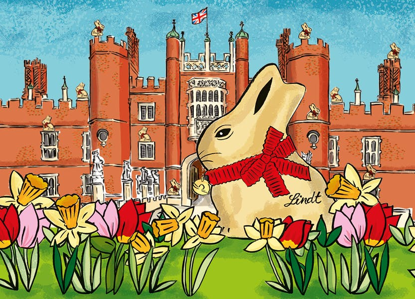 Illustration of the Lindt Gold Bunny outside the West Front of Hampton Court Palace