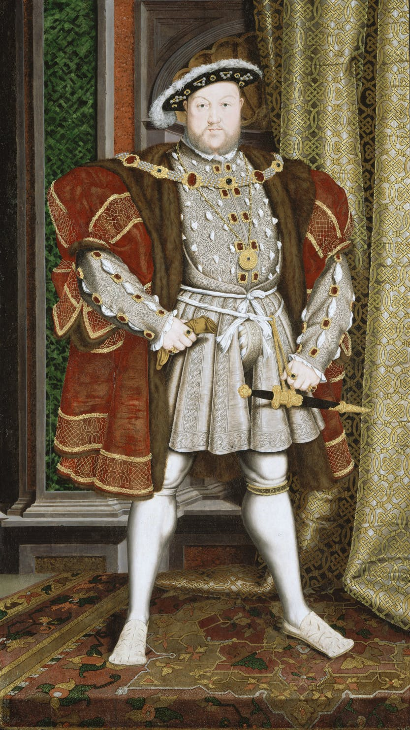 A full length portrait of the English monarch King Henry VIII.
