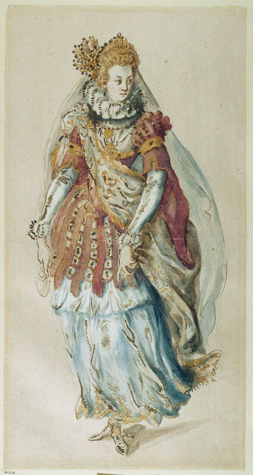 Early masque costume design by Inigo Jones, 'A Statue Transformed'