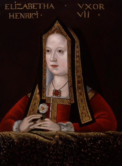 A portrait of Elizabeth of York, wife of Henry VII and mother to Henry VIII, depicted here in Tudor dress, holding the white rose of the House of York.