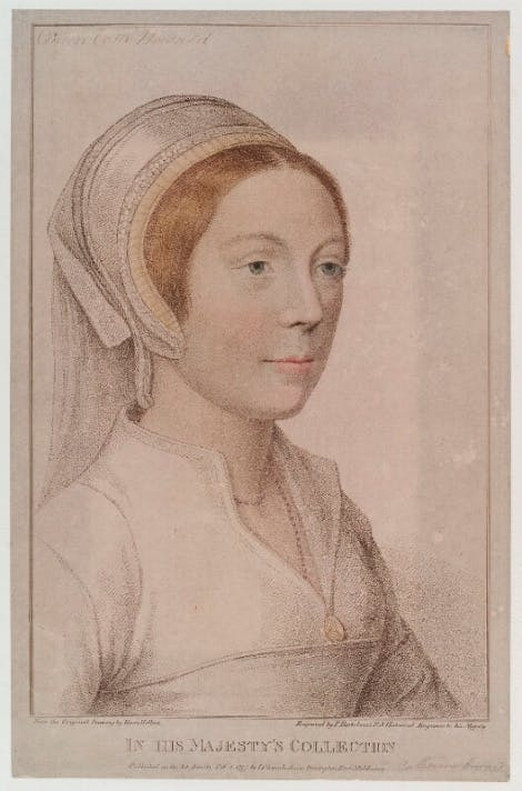 A sketch of unknown woman, engraved as Catherine Howard after Hans Holbein the Younger