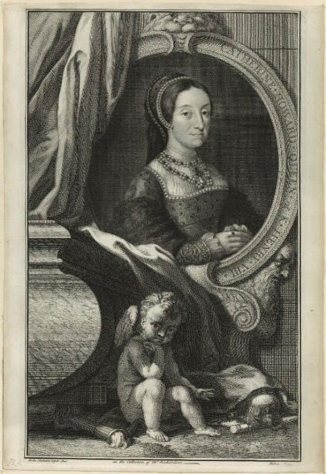 A line engraving of Catherine Howard by Jacobus Houbraken, after Hans Holbein the Younger