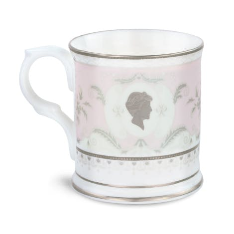 This fine bone china mug in delicate pink and silver features a cameo portrait of Diana, Princess of Wales.