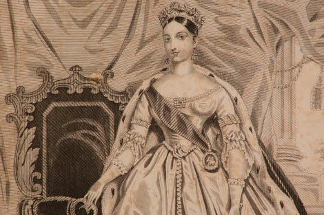 This fashion plate detail from 1838 shows Queen Victoria (1837-1901) in her Robes of State.