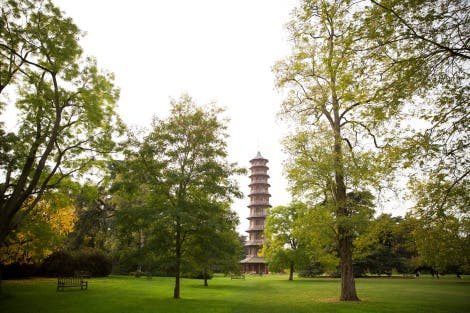 The Great Pagoda, an imitation Chinese octagonal tower of ten storeys designed by Sir William Chambers and completed in 1762. The Pagoda is seen through trees and parkland.