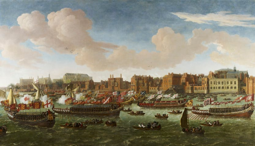 A view of the Thames of the Lord Mayor's Water-Procession with houses and churches in the background.