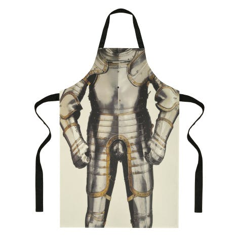This fun apron is inspired by the suit of armour made for Henry VIII in 1540, on display in the Tower of London armouries.