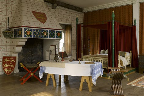 Reconstruction of the king's bedchamber in the medieval palace as it might have appeared during the reign of King Edward I.
