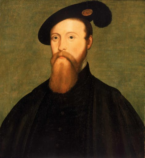 A portrait of Thomas Seymour dressed in black with a earthy green background.