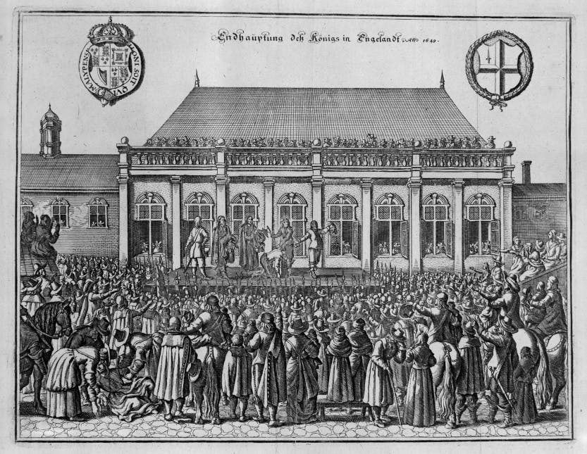 German print depicting the execution of King Charles I in 1649. King Charles I (1625-49) was executed outside the Banqueting House at Whitehall on 30 January 1649.