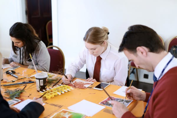 KS5 students in an Art and Design Pilot School Session at Hillsborough Castle.