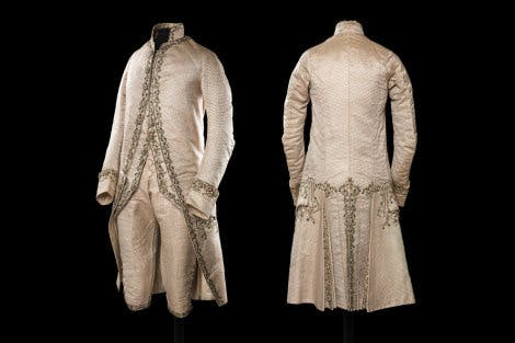 Gentleman's court coat of ivory silk satin, c. 1770