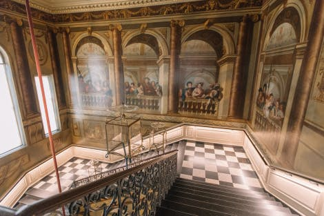 Wide view of the King's Grand Staircase at Kensington Palace