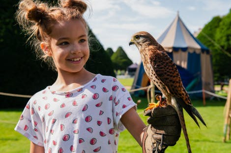 Child holds a falcon at a family event at Hampton Court Palace