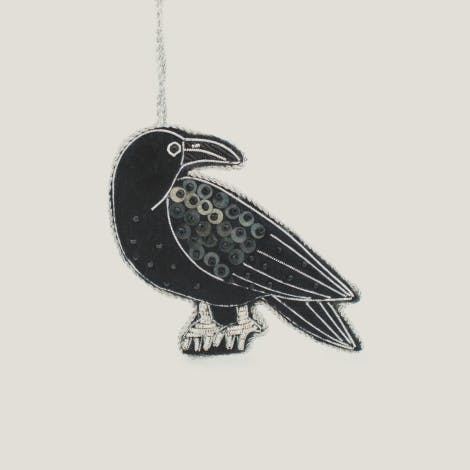 This luxury hand embroidered black raven decoration features one of the famous Tower of London ravens
