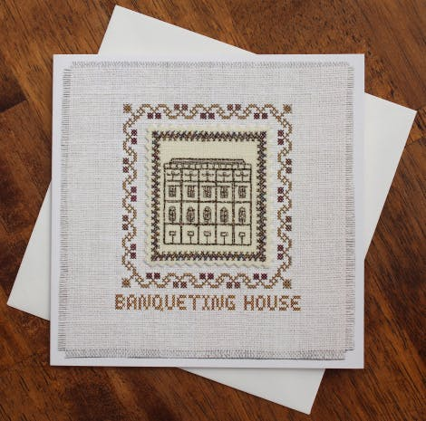 Unique hand stitched card featuring Banqueting House, Whitehall. Hand made in  England for Historic Royal Palaces.
