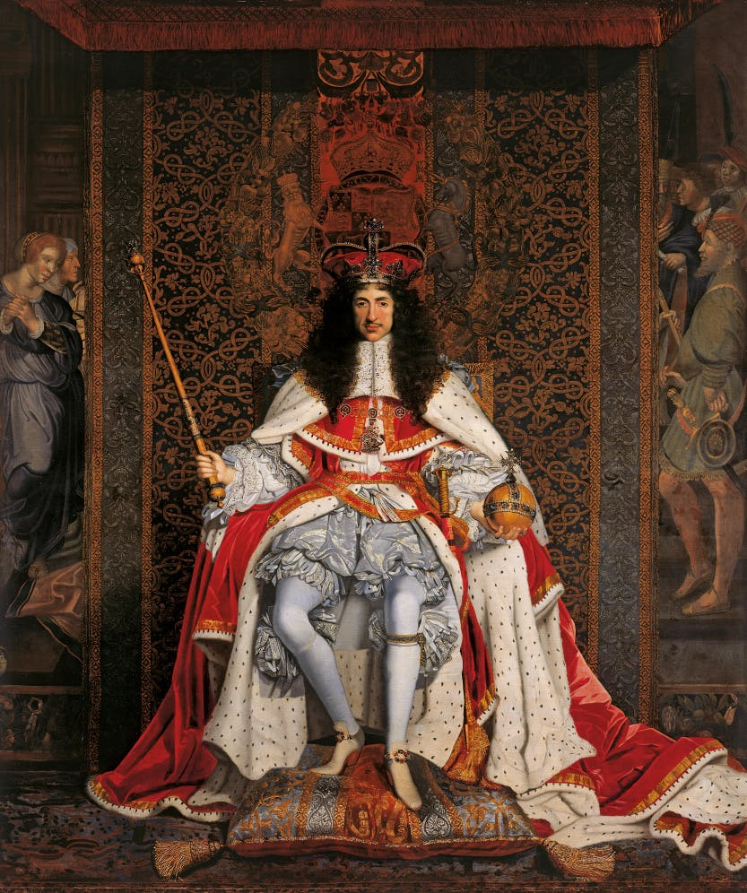 King Charles II at his coronation on the throne with his scepter and orb, wearing his crown.