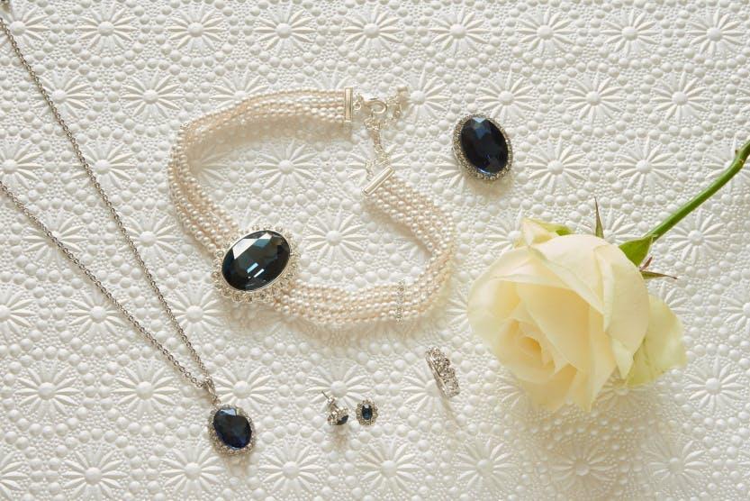 Faux sapphire pendant,  Faux sapphire choker,  Faux sapphire earrings, Spencer tiara ring, Faux sapphire brooch