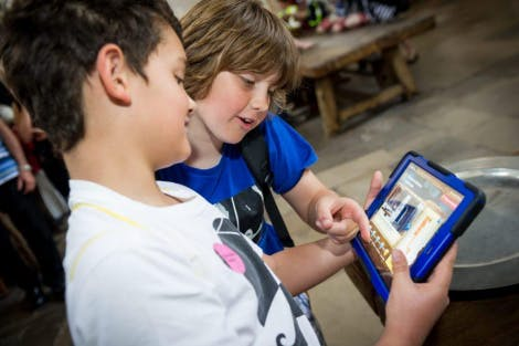 Children doing Digital Missions at Hampton Court Palace