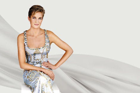 Diana, Princess of Wales wears a Versace dress in the promo image for Diana: Her Fashion Story