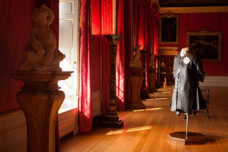 The King's gallery, looking south-west. Showing a Tyvek figure representing King George II dressed in mourning clothes