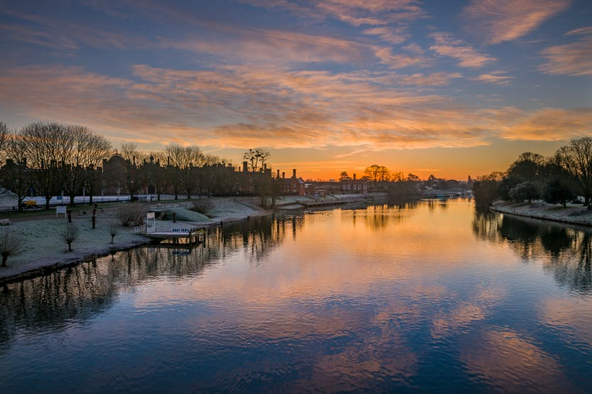 The River Thames at Hampton Court, looking east at sunrise on a winter morning