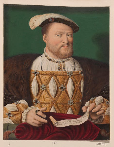 Reproduction of a painting of Henry VIII, King of England. Half length with beard, plumed jewelled cap, embroidered robes, and fur mantle, holding a scroll in left hand.