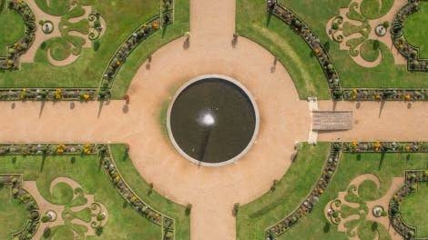 Aerial view of Great Fountain Garden at Hampton Court Palace