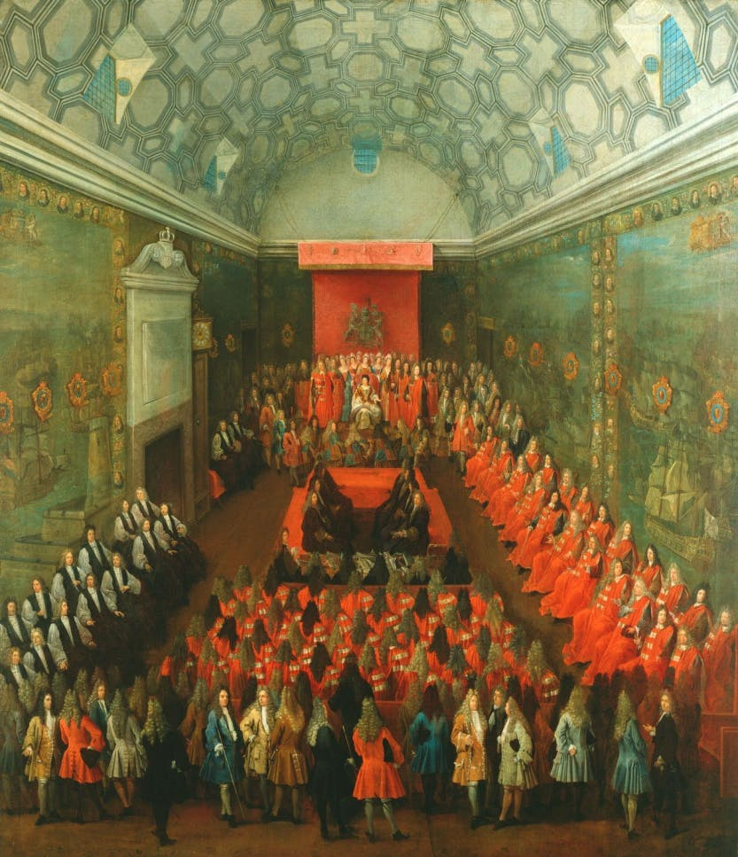 A painting depicting Queen Anne in the House of Lords.