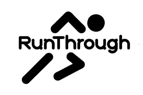 RunThrough events logo - black on white
