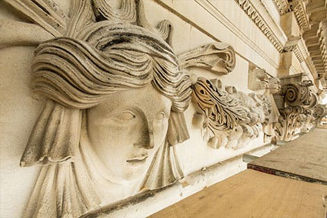 Banqueting House's stone front architecture as it undergoes conservation