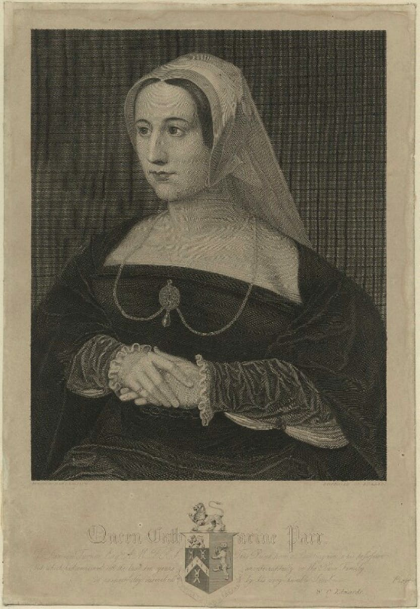 A line engraving of Katherine Parr by William Camden Edwards, after Hans Holbein the Younger