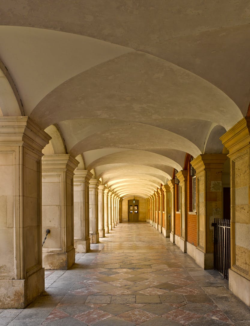 Fountain Court, looking west along the north cloister