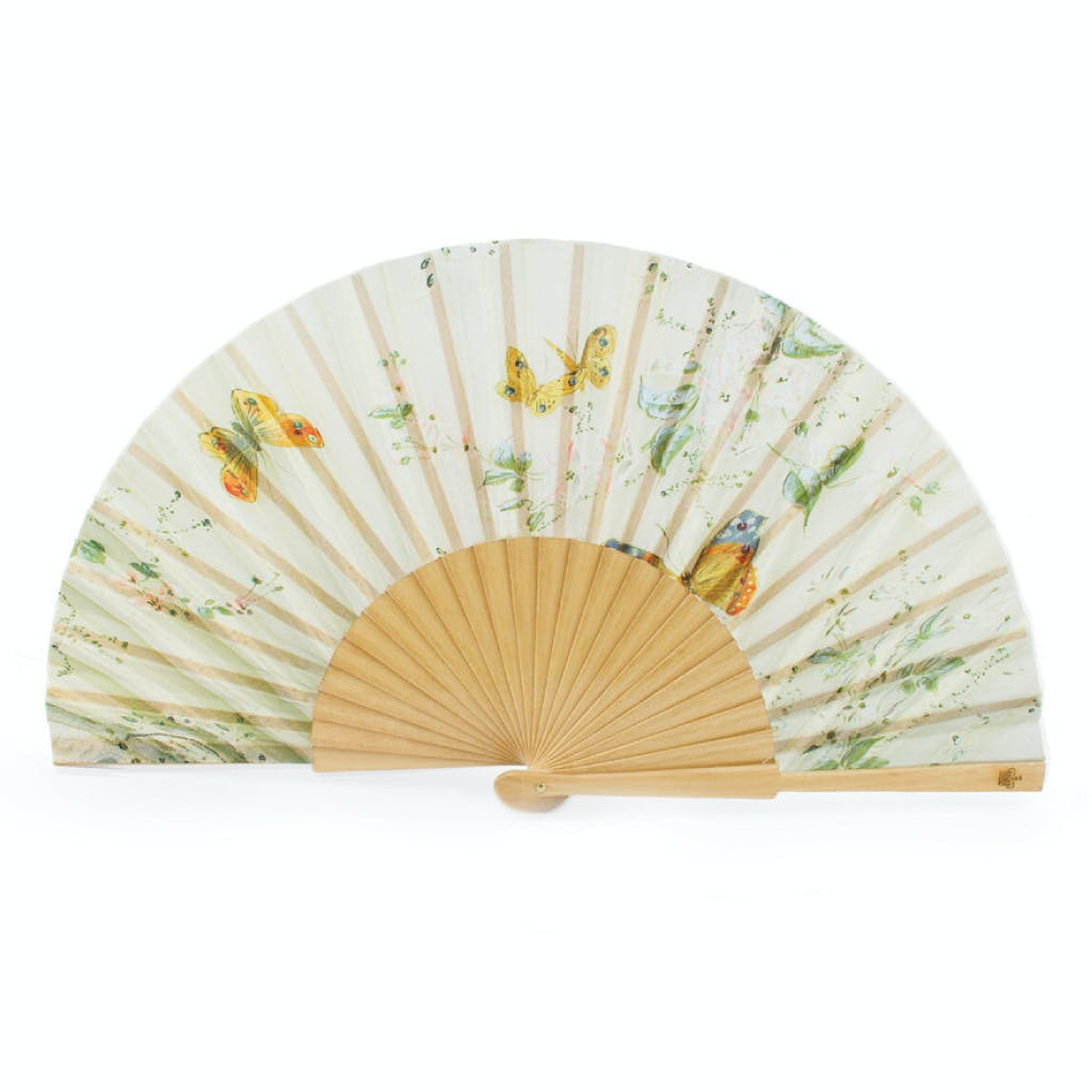 Designed exclusively for Historic Royal Palaces as part of the Enlightened Princesses exhibition at Kensington Palace. This luxury butterfly paper folding fan is based on an original fan in the Royal Ceremonial Dress collection at Historic Royal Palaces.