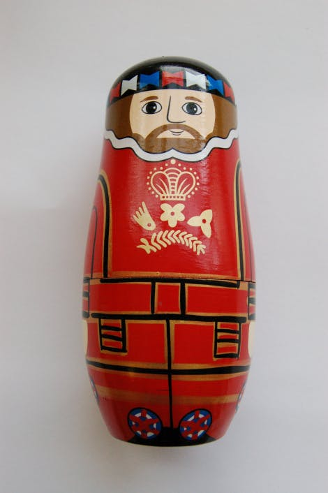 Yeoman Warder Stacking Doll.  Wooden Yeoman Warder Russian or nesting dolls are a perfect memento of the Tower of London's beefeaters.