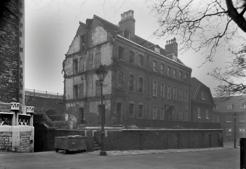 The Old Hospital Block at the Tower. Black and white photograph.