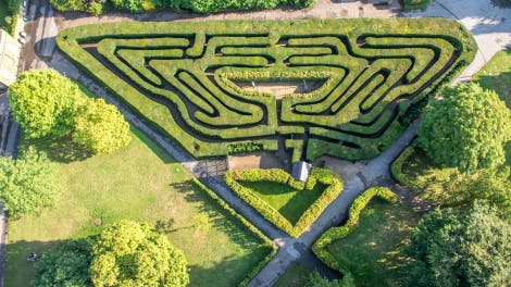 Aerial photograph of The Maze at Hampton Court Palace showing part  of the Wilderness
