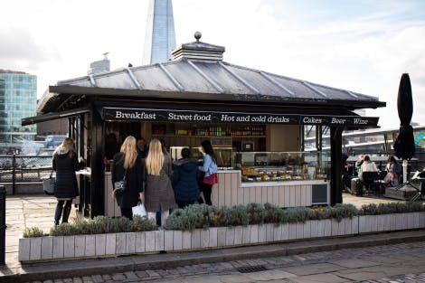 View of the Tower Wharf kiosk serving customers.