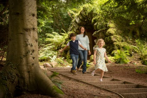 Family explore the Ice House at Hillsborough Castle and Gardens