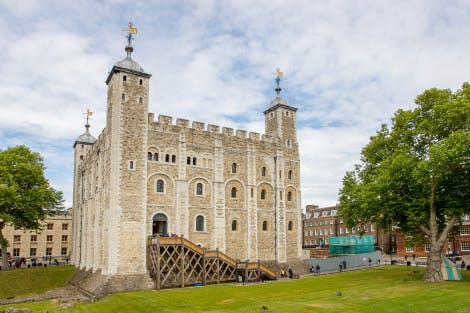 Exterior view of the White Tower and the lawn taken from the south by the Wakefield Tower