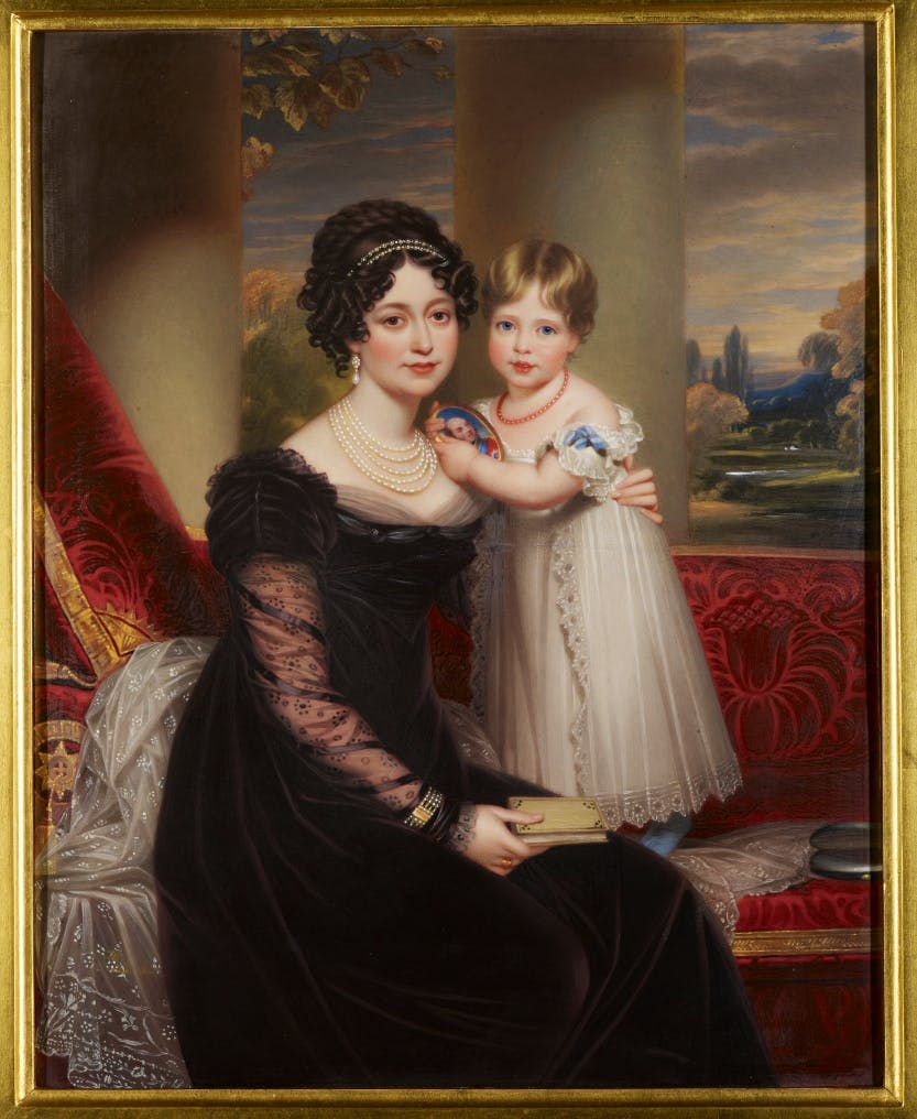 Victoria, Duchess of Kent (1786-1861) with Princess Victoria (after Beechey)  c.1824