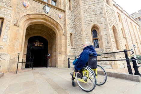 Wheelchair visitor accessing the Crown Jewels