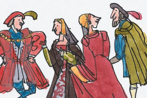 Illustration of two men and two women from the Tudor era